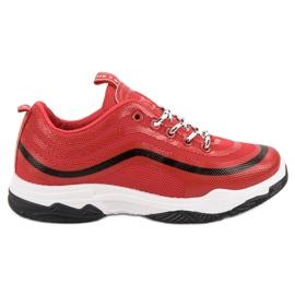 Czerwone Tekstylne Buty Sportowe