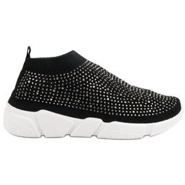 Czarne Tekstylne Buty Sportowe Z Kryształkami