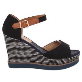 Sandałki na koturnie czarne 9079 Black
