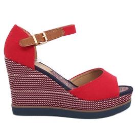 Sandałki na koturnie czerwone 9079 Red