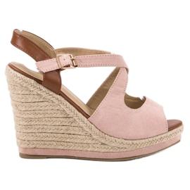 Laura Mode Sandały Na Obcasie różowe