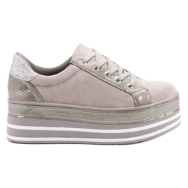 Weide szare Sneakersy Na Platformie