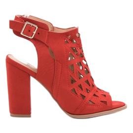 Chc Shoes czerwone Ażurowe Zabudowane Sandały