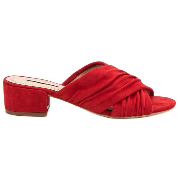Corina Modne Klapki czerwone