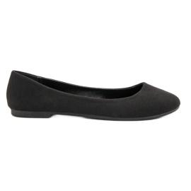 Ideal Shoes Czarne Tekstylne Baleriny