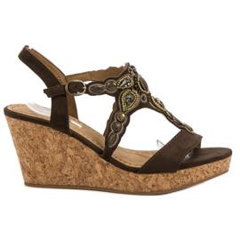 Corina brązowe Sandały Na Korkowej Koturnie
