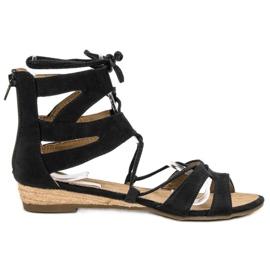 Corina Czarne Sandały Rzymianki