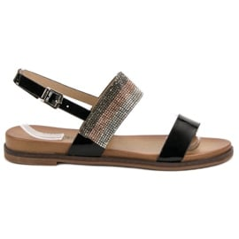 Czarne Sandały Z Kryształkami VINCEZA