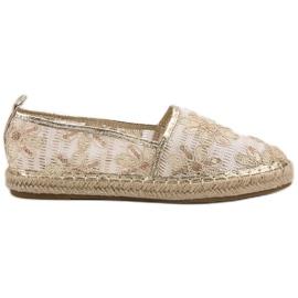 Lucky Shoes brązowe Koronkowe Espadryle W Kwiaty