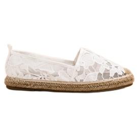 Lucky Shoes Białe Koronkowe Espadryle