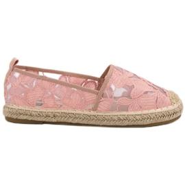 Lucky Shoes Różowe Koronkowe Espadryle