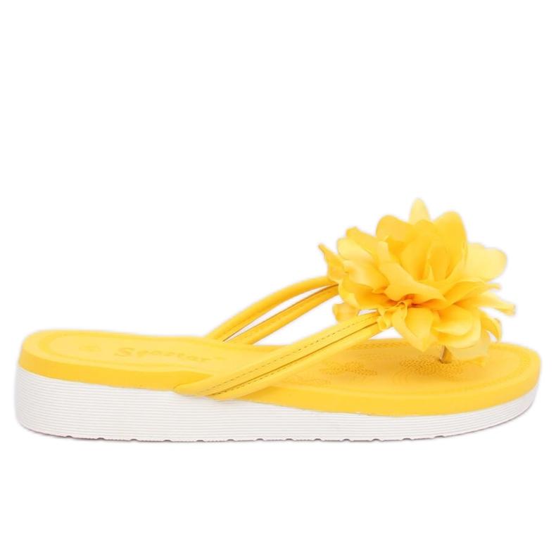 Japonki z kwiatem żółte CK103 Yellow