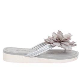 Japonki z kwiatem szare CK103 Grey