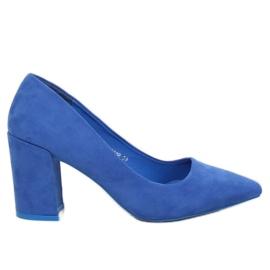 Niebieskie Czółenka na szerokim obcasie kobaltowe LE060P Blue