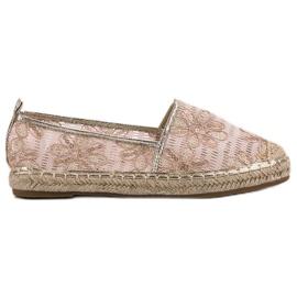 Lucky Shoes różowe Koronkowe Espadryle W Kwiaty
