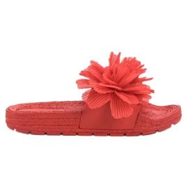 Seastar Czerwone Klapki Z Kwiatami