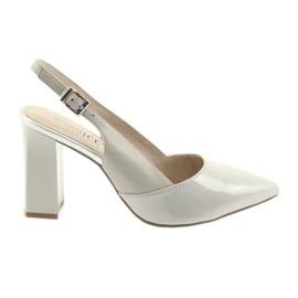 Sandały damskie na słupku Caprice 29604 szare