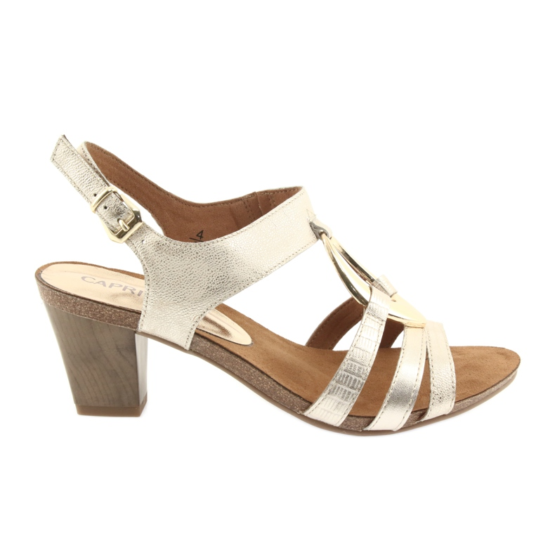 Caprice sandały damskie z ozdobą 28308 złoty owal żółte