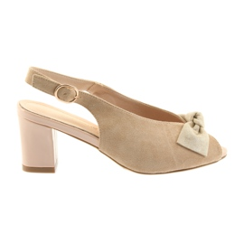 Sandały zamszowe kokarda Sergio Leone 801 brązowe