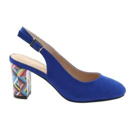 Sandały na słupku Sergio Leone 788 indigo mic niebieskie