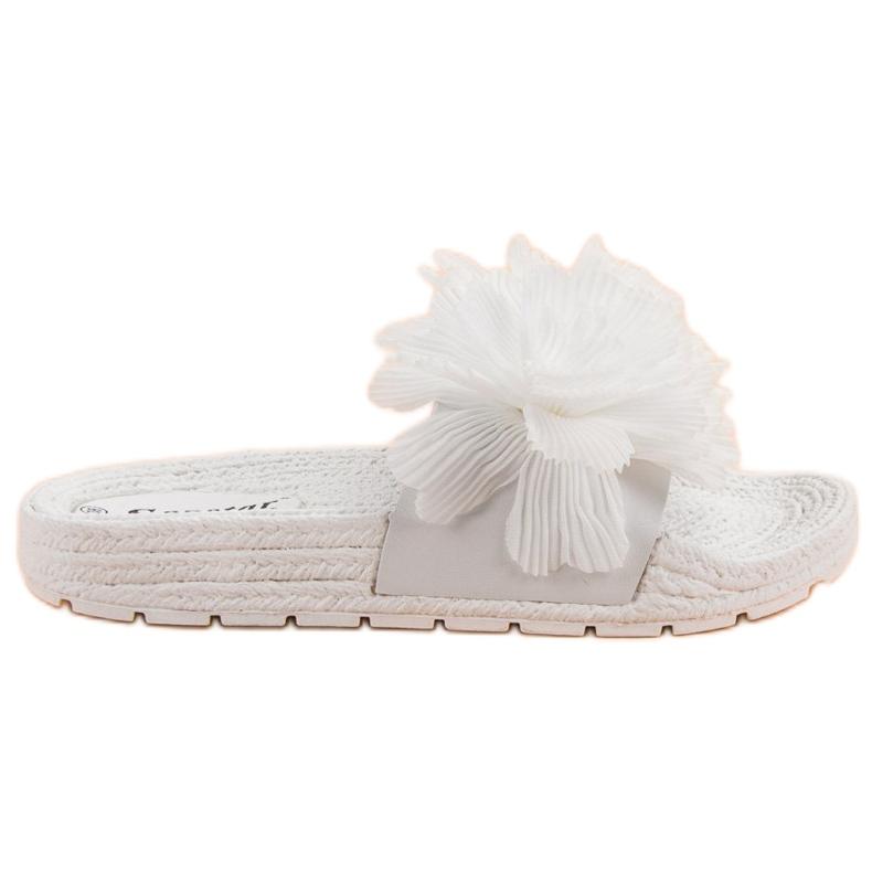 Seastar Białe Klapki Z Kwiatami