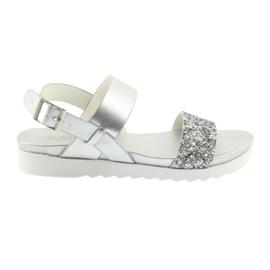 Szare Sandały komfortowe srebrne Filippo 685