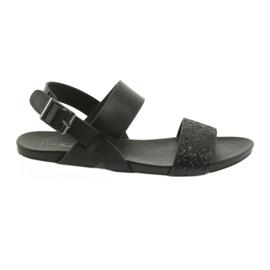 Sandały komfortowe czarne Filippo 685 brokat