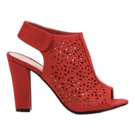 Queen Vivi czerwone Ażurowe Sandały Z Cholewką