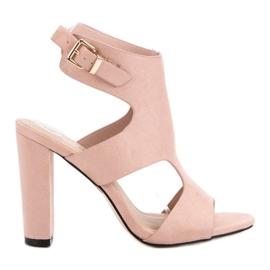 Seastar różowe Eleganckie Zamszowe Sandałki