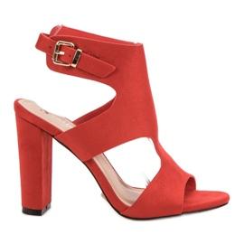Seastar czerwone Eleganckie Zamszowe Sandałki