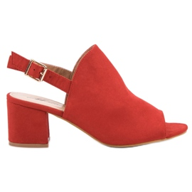 Czerwone Zamszowe Zabudowane Sandały