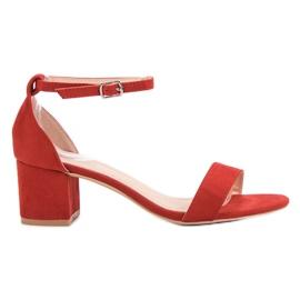 Renda czerwone Klasyczne Sandały Na Obcasie