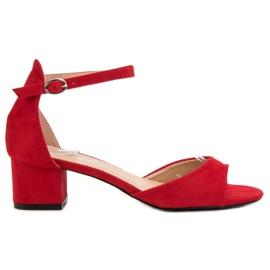 Super Mode Czerwone Sandały Na Obcasie