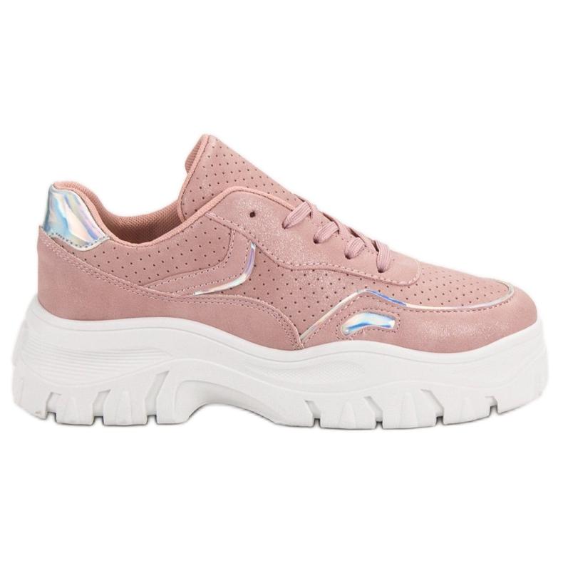 Różowe Sneakersy Z Efektem Holo