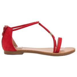 Cm Paris czerwone Płaskie Zamszowe Sandały