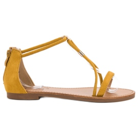 Cm Paris żółte Płaskie Zamszowe Sandały