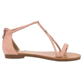 Cm Paris różowe Płaskie Zamszowe Sandały