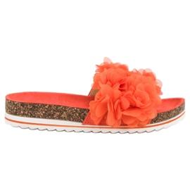 Seastar Modne Pomarańczowe Klapki