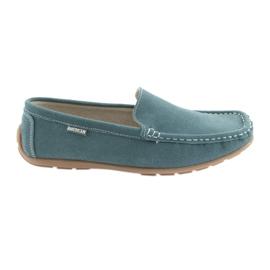 American Club niebieskie Mokasyny buty damskie skórzane denim blue