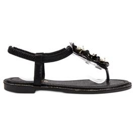 Comer czarne Sandały Z Perełkami