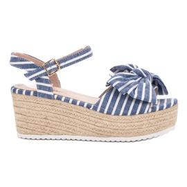 Seastar niebieskie Sandały Na Koturnie Z Kokardką