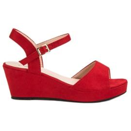SHELOVET Czerwone Zamszowe Sandały