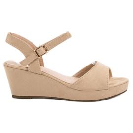 SHELOVET brązowe Beżowe Zamszowe Sandały