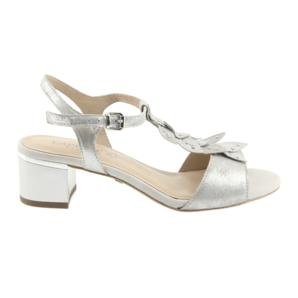 Sandały z listeczkami Caprice srebrne szare