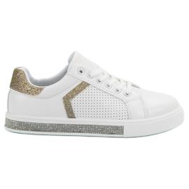 Ideal Shoes białe Buty Sportowe Z Cyrkoniami