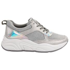 Ideal Shoes szare Srebrne Buty Sportowe