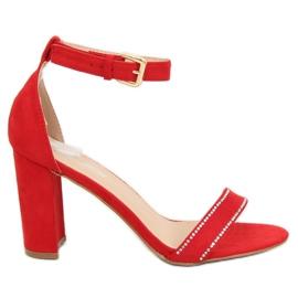Sandałki na słupku czerwone A8020 Red