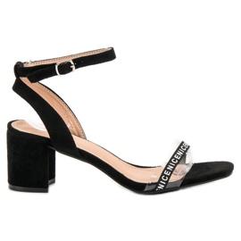 Ideal Shoes Stylowe Zamszowe Sandałki czarne