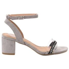 Ideal Shoes szare Stylowe Zamszowe Sandałki