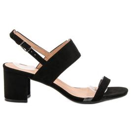 Ideal Shoes czarne Modne Sandały Damskie